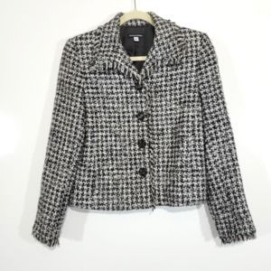 Marianne Webber Tweed Fringe Checkered Blazer 8P